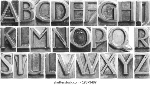 old movable type full alphabet set