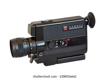 Old movie camera super eight isolated on white bakground