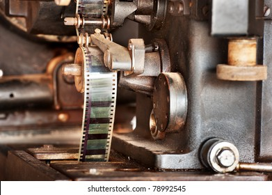 old movie cinema film projector of 8mm. and 16 mm. Vintage retro technology concept. old analog projectors are still used at some places. common type of projector used today is called video projector.
