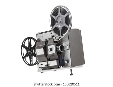 Old movie film projector isolated with clipping path.