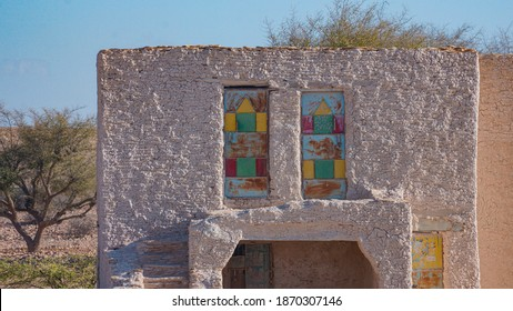 old mud building with iron colored doors in Al Mukalla Yemen at nov 2020