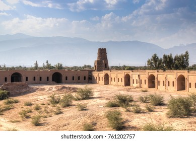 The old mud-brick caravanserai in Shahdad, the last village before the start of the Dasht-e Lut desert near Kerman in Iran