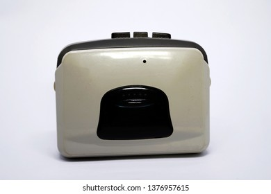 Old music player or cassette player on white back ground