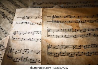 Old music sheets, closeup