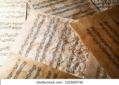 Old music sheets on table