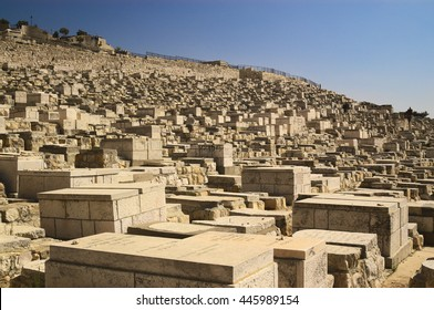 Old muslim cemetery on olive mountain in old Jerusalem