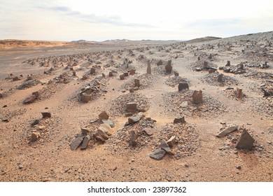 Old Muslim cemetery in Sahara desert region