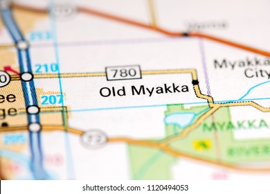 Old Myakka. Florida. USA on a map