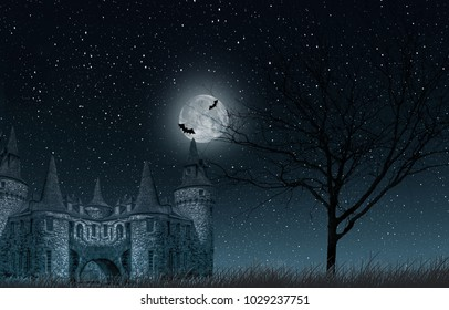Old mysterious castle with full moon and bats, old tree and starry sky closeup
