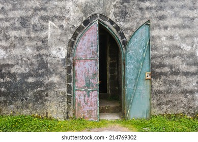 Old mysterious castle gate