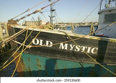 """Old Mystic"" fishing boats in harbor at Newport, Rhode Island"