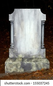old nameless tombstone in cemetery setting