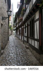 Old Narrow Medieval Street in Germany, Europe
