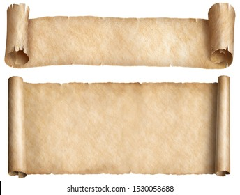 Old narrow parchment scrolls set isolated on white