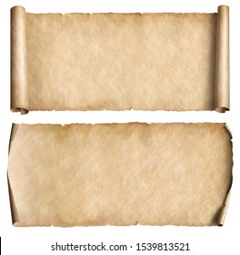 Old narrow parchments or scrolls set isolated on white