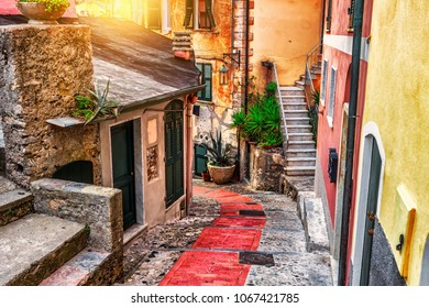 Old narrow stone street in Tellaro village, Liguria, Italy