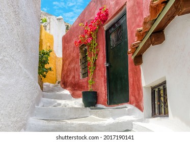 Old narrow street in Anafiotika, Plaka district, Athens, Greece. Plaka is famous tourist attraction of Athens. Beautiful cozy alley between white houses at Acropolis slope in Athens city center.