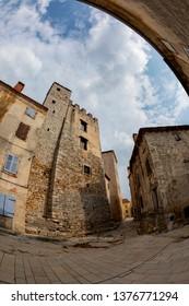 Old and narrow street in Bale town, Istria, Croatia