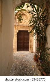 old narrow street in Thasos Greece