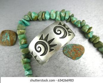 Old Native American Hopi star burst cuff bracelet by Bernard Dawahoya (d.)