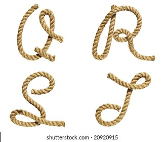 old natural fiber rope bent in the form of letter Q, R, S, T