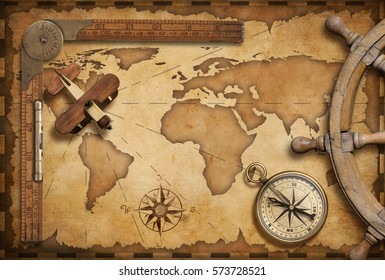 Old nautical map still life as adventure, travel and exploration 3D illustration