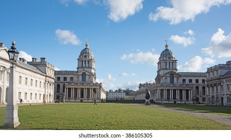 Old Naval College in Greenwich, UK with park and Greenwich Observatory in the background.