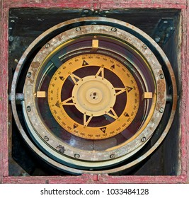 Old naval compass in gyroscopic hinge