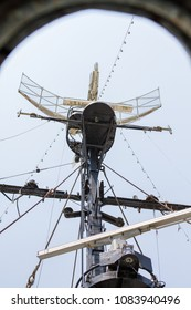 Old Navigation equipment , radar , antennas , radio tower and mast of the Decommission battleship for Memorial and Education. It's a photo shoot from the bottom up.