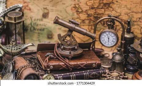 Old Navigation Sextant Measuring Instrument