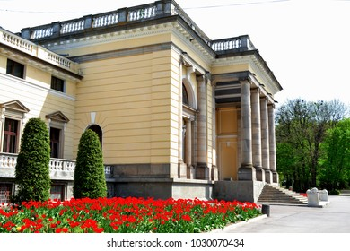 The old neoclassical palace of the Earl located near Vinnitsa, Ukraine, is now a sanatorium - a spa, treatment and rehabilitation center with a large park