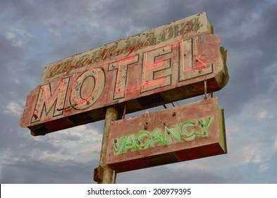 Old neon motel sign in California.
