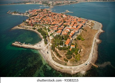 Old Nessebar city, Bulgaria, aerial view from helicopter