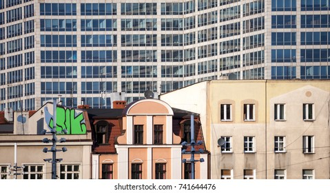 Old and new architecture, classic and modern buildings