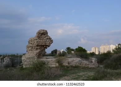 Old and new Ashkelon ancient fortress wall ruins Israel