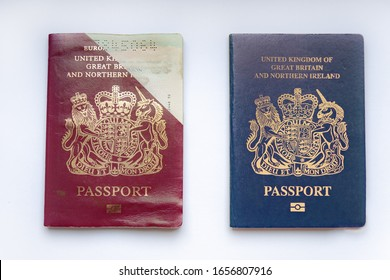 Old and New British Passports Comparison on white background