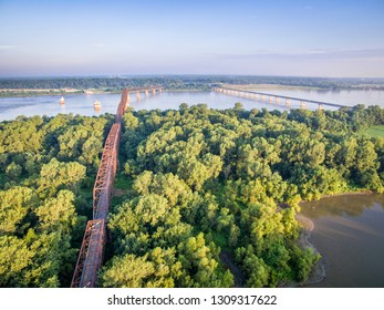 The old and new  Chain of Rocks Bridge over the Mississippi River near St Louis - aerial view at sunrise
