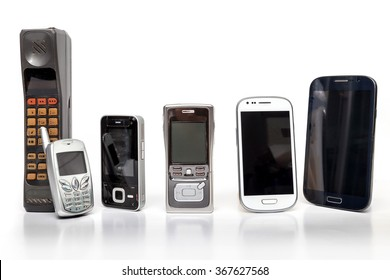 Old and New Design Mobile Phone on white background.
