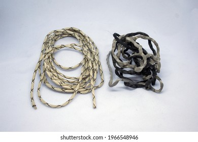 old and new para cord on white background