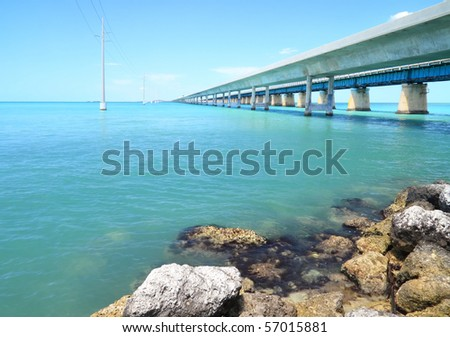 The old and new  seven mile bridge in the Florida keys
