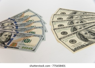 Old and new US 100 Dollar currency banknotes
