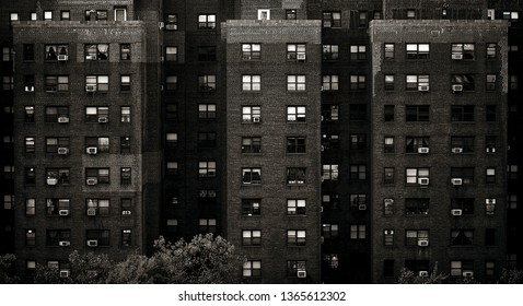Old New York Apartment Building Shot Straight On