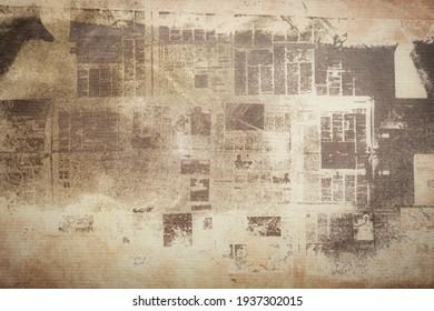 OLD NEWSPAPER BACKGROUND, BROWN GRUNGE PAPER TEXTURE, DARK VINTAGE WALLPAPER PATTERN, RETRO NEWSPRINT DESIGN