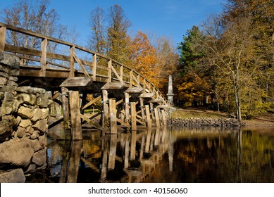 Old north bridge located in Concord, massachusetts, where the american revolution started