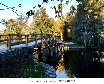 The Old North Bridge. Photo was taken on a late afternoon in October at the Minute Man National Historical Park, Concord, Mass, USA. New England.