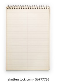 Old note book isolated on white.