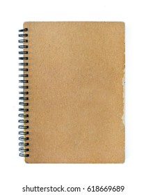Old notebook isolated on white background.