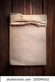 old notebook on wooden background