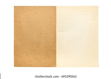 Old notebook paper isolated on white background.