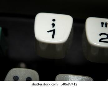 Old number one key on vintage typewriter